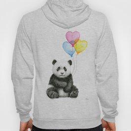 Panda Baby with Heart-Shaped Balloons Whimsical Animals Nursery Decor Hoody