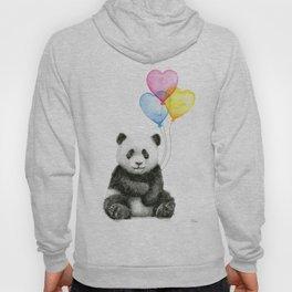 Panda Baby with Heart-Shaped Balloons Whimsical Animals Nursery Decor Hoody
