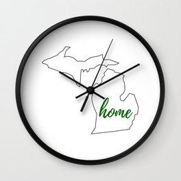 Michigan - Home - White Green Wall Clock