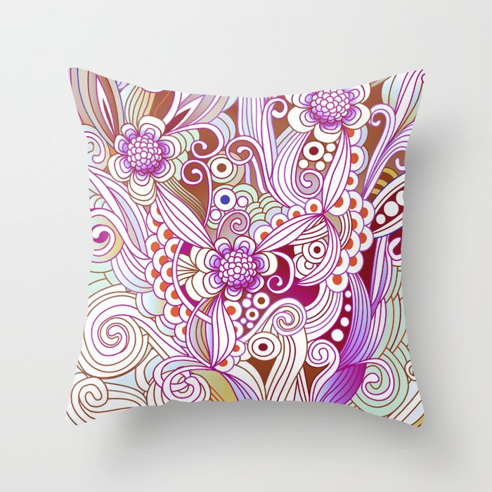 zentangle inspired Flower fire doodle, purple colorway Throw Pillow