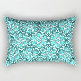Symmetrical Flower Pattern in Turquoise Rectangular Pillow