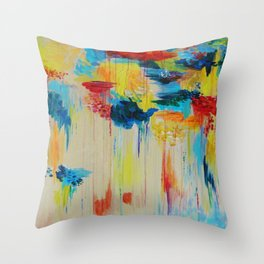 VANCOUVER RAIN - Stunning Rainbow Colorful Bold bright Rain Clouds Stormy Day Wow Abstract Painting Throw Pillow