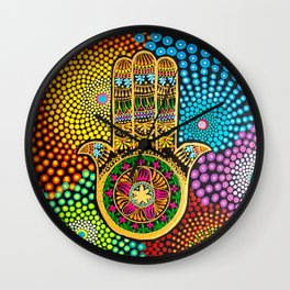 Hamsa Hand, hand of fatima, mandala, yoga art, mandala art, meditation art Wall Clock