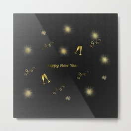 gold happy new year text in black paper Metal Print