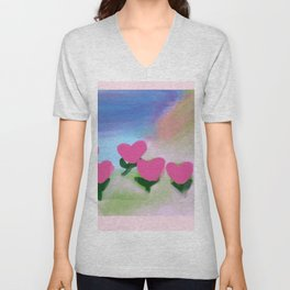 Hearts from a Rose Pink Unisex V-Neck