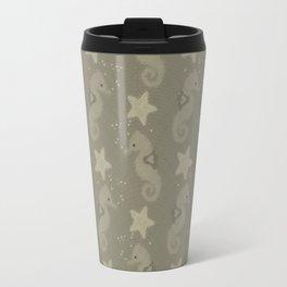Sepia Seahorses And Starfish Pattern Travel Mug