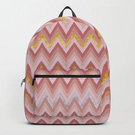 Geometric Chevron: Marble, Gold, Blush Pink Backpack