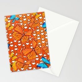 YELLOW BLUE ORANGE BUTTERFLY ABSTRACT WORLD Stationery Cards