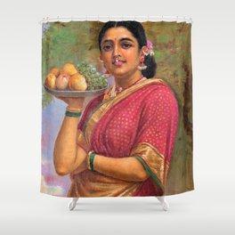 12,000pixel-500dpi - Raja Ravi Varma - The Maharashtrian Lady - Digital Remastered Edition Shower Curtain