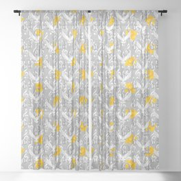 Peace song memories / Headphones, dove, clef and rose pattern Sheer Curtain