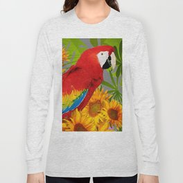 JUNGLE ART RED-BLUE MACAW PARROT & SUNFLOWERS Long Sleeve T-shirt