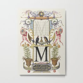 Guide for Constructing the Letter M from Mira Calligraphiae Monumenta or The Model Book of Calligrap Metal Print