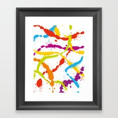 Splattered Rainbow [WHITE] Framed Art Print