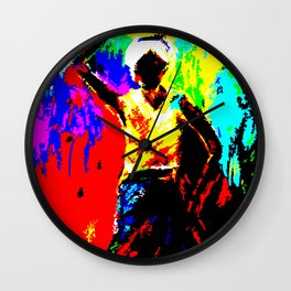 African Lady Carrying Fruit, Abstract Print Wall Clock