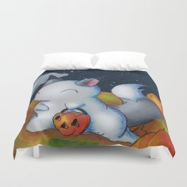 Ghost in the Pumpkins Duvet Cover