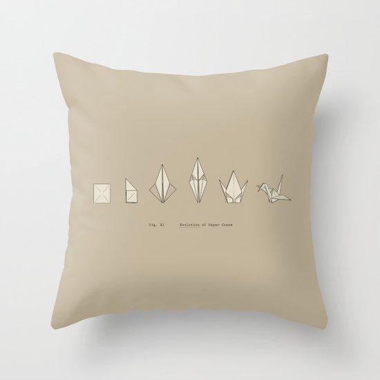 Evolution of Paper Crane Throw Pillow