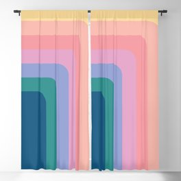 Abstract Retro Geometric Color Pattern Blackout Curtain