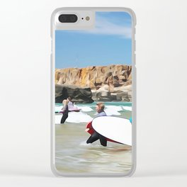 Rocks sea, travel surf beach nautical landscape Perfect day for surf Clear iPhone Case
