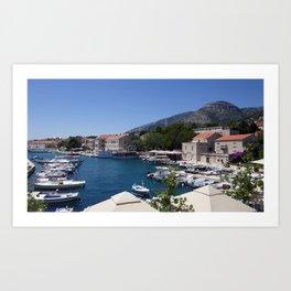 Croatia Island Of Brac, town of Bol Berth powerboat Houses Cities Pier Marinas speedboat Motorboat Building Art Print