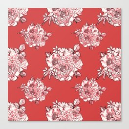 Red Bouquet Pattern Canvas Print