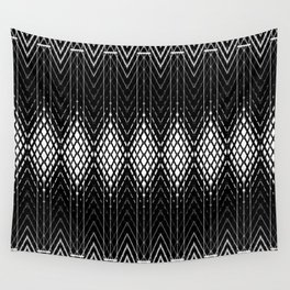 Geometric Black and White Diamond Scales Pattern Wall Tapestry