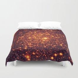 Copper Bronze Glitter Stars Duvet Cover
