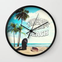 500 days of summer Wall Clocks featuring Summer Days by Nicklas Gustafsson