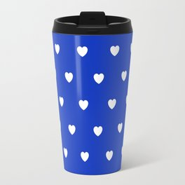HEARTS ((white on azure)) Travel Mug
