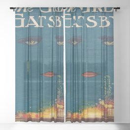 The Great Gatsby vintage book cover - Fitzgerald - muted tones Sheer Curtain