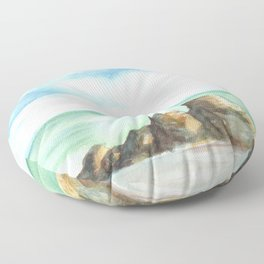 2019 Watercolor Sea Scape Series 001 Watercolor Painting Floor Pillow