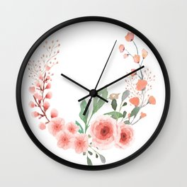 Leaves and Fresh Roses Open Wreath Wall Clock