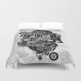 Hungry Gears (negative) Duvet Cover