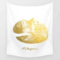gold foil Wall Tapestries featuring Gold Foil Baby Fox by RsDesigns