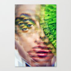 Green Infintium - Lush Vivid Multitudes of her Eyes and Face Canvas Print