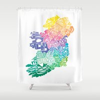 ireland Shower Curtains featuring Typographic Ireland by CAPow!