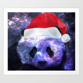 Galaxy Santa Panda Space Colorful Art Print