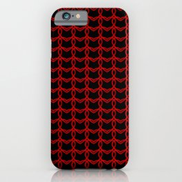 Vintage metal pattern of red hearts on a black background. iPhone Case