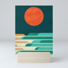 Chasing wave under the red moon Mini Art Print