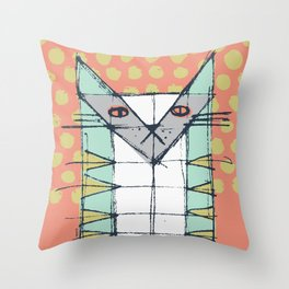 Cubist Cat Study #2 by Friztin Throw Pillow