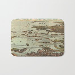 Boston Harbor Birds-Eye View Map Bath Mat