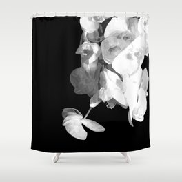 White Orchids Black Background Shower Curtain