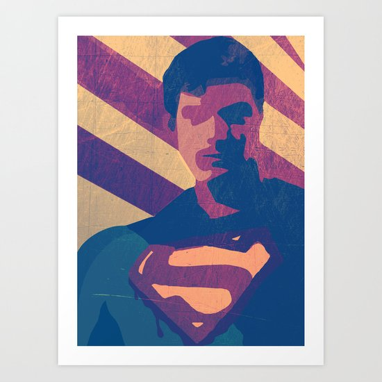 Retro Superman Art Print
