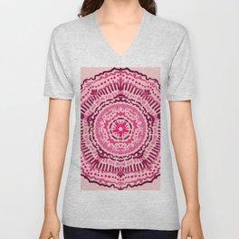Pink and Red Marsala Painted Girly Mandala Unisex V-Neck