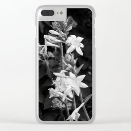 Dramatic Flowers B&W Clear iPhone Case