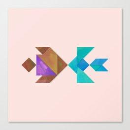 Tangram Fish in love Canvas Print