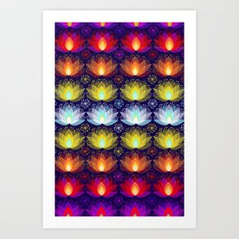 Variations on a Lotus I - Sparkle Brightly Art Print