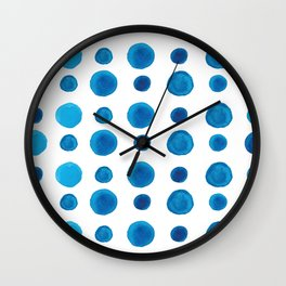 Watercolor blue dots Wall Clock