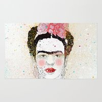 frida kahlo Area & Throw Rugs featuring Frida Kahlo  by Marttala