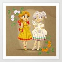 Retro Sailor Galaxia & Cosmos Art Print