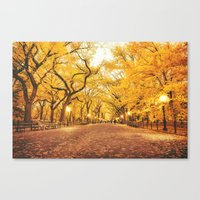 new york city Canvas Prints featuring New York City Autumn by Vivienne Gucwa